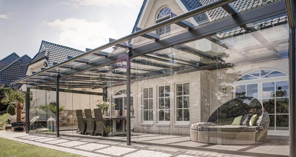 Terrassenüberdachung mit Seitenverglasung